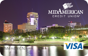 Wichita skyline at night debit card design